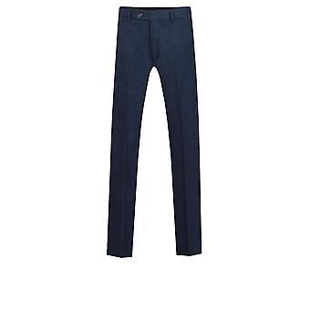 Dobell Mens Navy Donegal Tweed Trousers Regular Fit Wool Blend