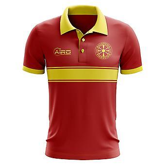 Mazedonien-Konzept-Streifen-Polo-Shirt (rot)
