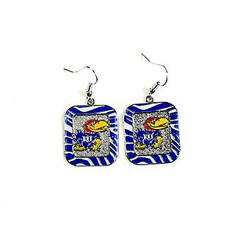 Kansas Jayhawks NCAA Zebra Style Dangle Earrings