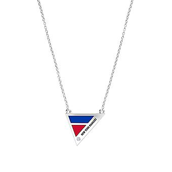 New York Rangers Engraved Sterling Silver Diamond Geometric Necklace In Blue & Red