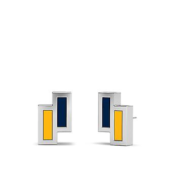 Nashville Predators Sterling Silver Asymmetric Enamel Stud Earrings In Blue & Yellow