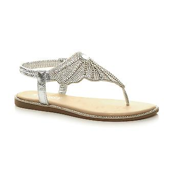 Ajvani kvinnors låg klack Diamante Toe post t-bar elastiska slingback sandaler
