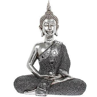 Silver Art finish thai sitting buddha home decoration