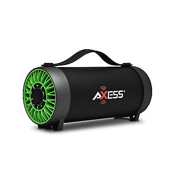 Axess Portable Bluetooth Speaker With Built-In Usb Support and FM Radio - Green