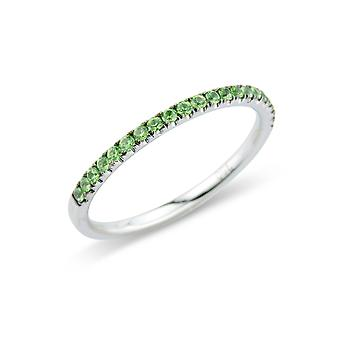 Κοσμήματα του Λονδίνου 18ct λευκό χρυσό πράσινο νύχι-σετ δαχτυλίδι αιωνιότητας-1.7 mm