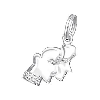 Gemini Zodiac sign - 925 Sterling Silver Charms with Split ring - W20006X