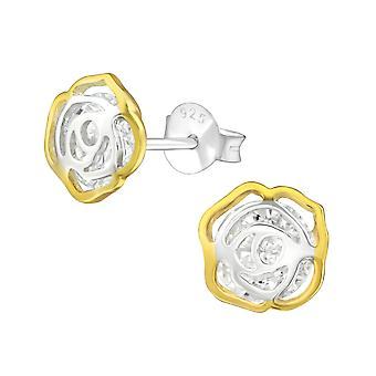 Цветок - 925 стерлингового серебра кубического циркония уха шпильки - W37584x
