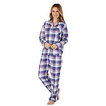 Slenderella PJ4219 Women's Woven Plaid Cotton Pyjama Set