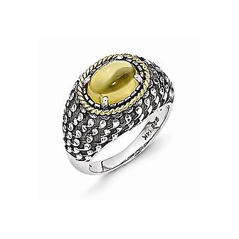925 Sterling Silver With 14k Citrine Ring Jewelry Gifts for Women - Ring Size: 6 to 7