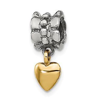 925 Sterling sølv polert antikk finish 14K refleksjoner hjerte Dingle perle sjarm