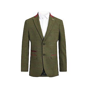Loch Hart Mens Green Windowpane Check Tweed 3 Piece Suit Velvet Trim