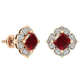 Dazzlingrock Collection 14K Each 6 MM Cushion Lab Created Ruby & Round Diamond Ladies Stud Earrings, Rose Gold