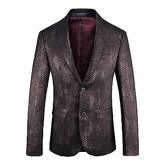 Allthemen Men's Blazer Snake Skin Pattern Slim Fit Wedding Party Suit Jacket