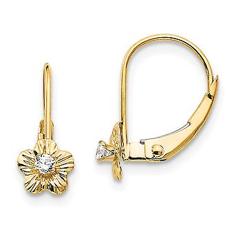 14k Yellow Gold Polished Flower With Cubic Zirconia Leverback Earrings