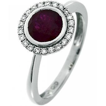 Ædelsten ring diamanter 0.17 CT. Ruby 1,33 CT. Størrelse 56