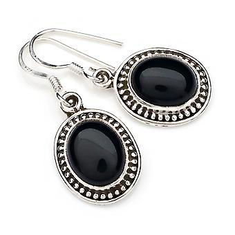 Oorbellen oorbellen zilver 925 sterling zilver onyx zwarte steen (Nee: MOH 101-03)