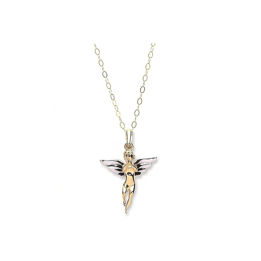 Eternity 9 Carat 2 Colour Gold Angel Pendant And 16