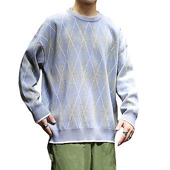 Allthemen Men's Casual Fashionable Rhombic Colorblocked Sweater