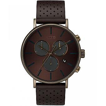Timex мужские часы Фэрфилд сверхновой 41 мм кожаный браслет TW2R80100