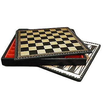 14 Inch Black & Gold Pressed Leather Chest Chess Board