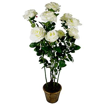90cm (3ft) Artificial Rose Tree Large Plant Cream / Ivory
