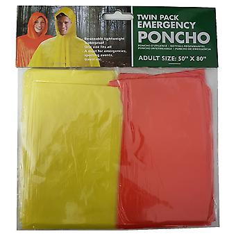 Twin Pack Emergency Rain Poncho Unisex Adult Size 50