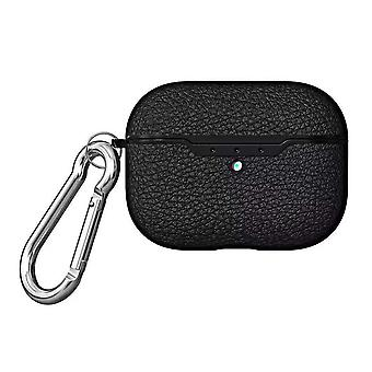 For AirPods Pro Case, Protective Lychee Texture TPU Box with Hook, Black