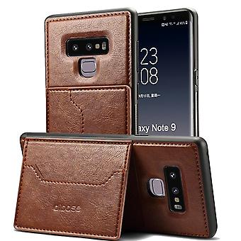 Para Samsung Galaxy Note 9 Case, Wild Horse Leather Flip Wallet Phone Cover, Coffee