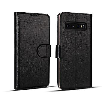 For Samsung Galaxy S10e Case, Black Fashion Cowhide Genuine Leather Wallet Cover