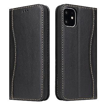 Pour iPhone 11 Pro Max Case Black Fierre Shann Genuine Cowhide Leather Cover