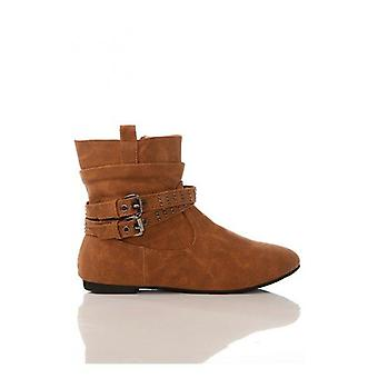 Studded Strap Ankle Boots In Camel