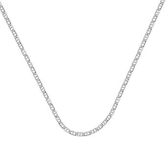 14k White Gold 4.4mm Mariner Chain Necklace Lobster Lock Closure Jewelry Gifts for Women - Length: 18 to 30
