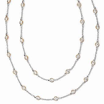 Cheryl M 925 Sterling Zilveren Bezel Spring Ring Rose 14k Verguld Fancy CZ Cubic Zirconia Gesimuleerde Diamanten Ketting 3