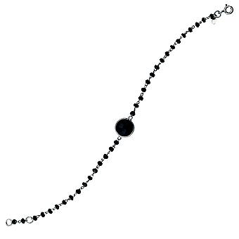 925 Sterling Silver Rhodium Plated Black Spinel Bead Bracelet With 10mm Center Adjustable 7.50 Inch Jewelry Gifts for Wo