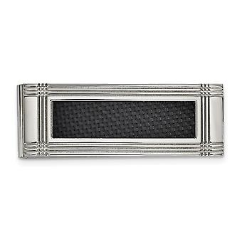19.85mm Stainless Steel Polished With Carbon Fiber Inlay Money Clip Jewelry Gifts for Men
