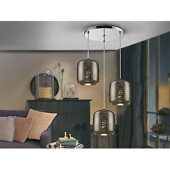 Schuller Vias - Lampe de 3 lumières en métal, finition chromée. Nuances en verre miroité avec motif de lignes claires. - 654942