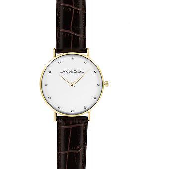 Watch Andreas Osten AO-26 - Leather Watch Marron Bo tier Dor Mixed