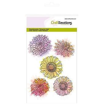CraftEmotions Tydliga frimärken A6 - Krysantemum blomma Botanisk sommar