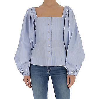 Ganni F4538699 Women's Light Blue Cotton Shirt