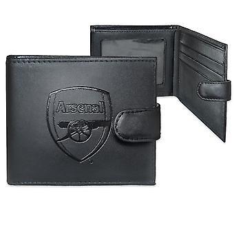 Arsenal FC virallinen jalkapallo lahja boxed nahka lompakko kohokuvioitu Crest