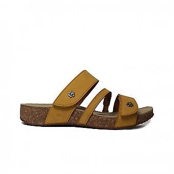 Josef Seibel Tonga 54 gelb Leder Damen Slip auf Mule Sandalen