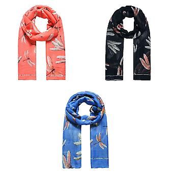 Jewelcity Womens/Ladies Large Dragonfly Print Scarf