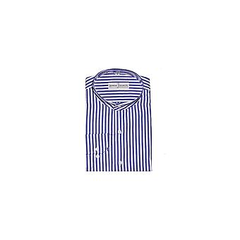 Jenson Samuel Gestreept Blauw & Witte Kraagloze Regular Fit Shirt