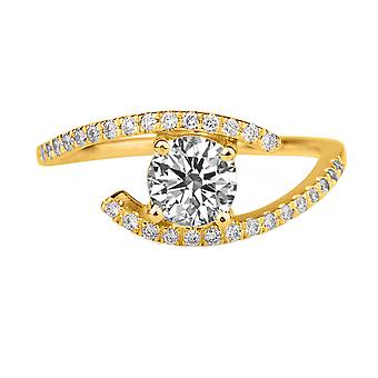 0.75 Carat D VS1 Diamond Engagement Ring 14K Yellow Gold Solitaire w Accents Micro Pave Round