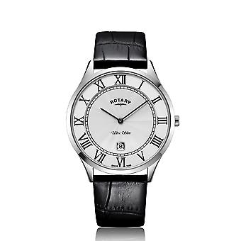 Rotary GS08400-29 Ultra Slim White Stainless Steel Men's Wristwatch