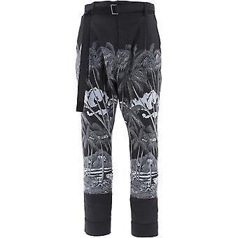 Sacai 02194mblk Men's Black Polyester Pants