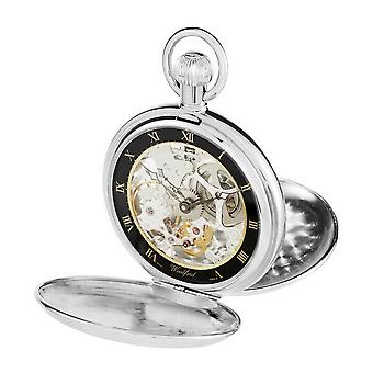 Woodford Double Zwitserse zakhorloge van Hunter skelet - zilver