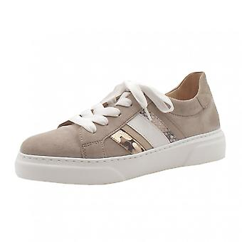 Gabor Scenic Lace Up Neutral Leder Sneakers In Light Taupe