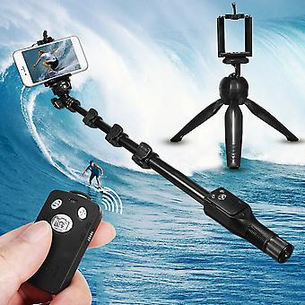 Bluetooth wireless remote control extendable handheld selfie stick monopod + tripod for camera mobile phones