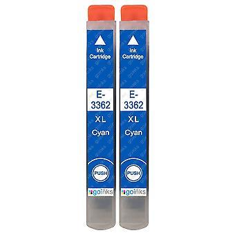 2 Cartuchos de tinta cian para reemplazar Epson T3362 (Serie 33XL) Compatible/no OEM de tintas Go